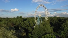 Aerial View of the Old Ferris Wheel in the Park Stock Footage