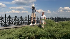 The girl carefully goes on border - stock footage