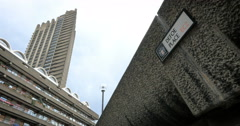 The Brutalist architecture of the Barbican Estate, Defoe Place, London, UK Stock Footage