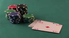 Poker Player Shows Good Cards. Double Aces. Poker table. Stock Footage