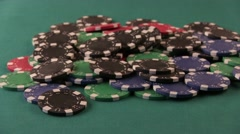 Double Aces. Raise Chips and Showdown. Stock Footage