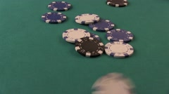 Poker Chips Falling Down on The Poker Table Stock Footage