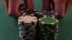 Poker Player Moves Chips on Table at Casino. Casino Chips Stock Footage