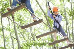 Happy children playing in tree top adventure park Kuvituskuvat