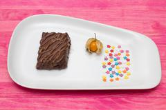 Chocolate mousse on plate  and confectionery  sprinkling Stock Photos