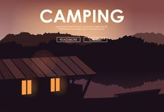 Evening landscape on the river. Vector illustration. Lake house - stock illustration