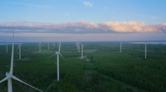 Aerial Shot of Wind Power Plant with Clusters of Wind Turbines Stock Footage