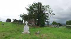 old celtic cemetery graveyard in ireland 62 - stock footage