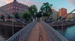 Bridge of Four Lions in Saint Petersburg, Russia. Stock Footage