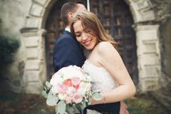 Happy wedding couple hugging and smiling each other on background old castle - stock photo