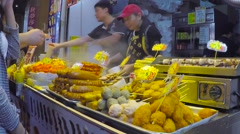 Street Food Vendor in Hong Kong. Stock Footage