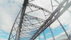 Bolsheokhtinsky Iron Bridge Stock Footage