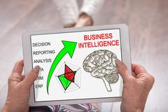 Business intelligence concept on a tablet - stock photo