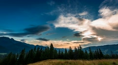 Sunset in Tatra mountains view from Zakopane, Poland Stock Footage