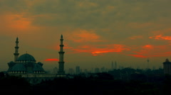 Golden Sunrise at Mosque Stock Footage