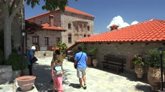 Tourists inside the Monastery of Great Meteoron. Meteora, Greece Stock Footage