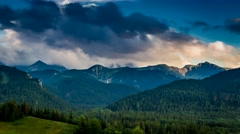 Sunset over the Tatra Mountains in summer, Poland Stock Footage