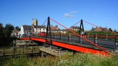 Traffic crossing over the river ouse using selby swing bridge, selby, uk Stock Footage