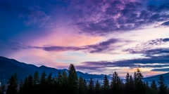 Sunset over Tatra mountains view from Zakopane, Poland Stock Footage