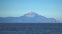 Mount Athos seen from the Aegean sea. Chalcidice, Greece Stock Footage