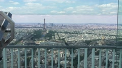 Montparnasse Tower Panoramic Observation Deck In Paris, Pan Stock Footage