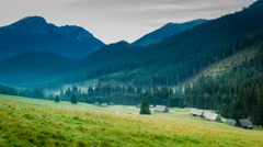 Dawn in the valley Chocholowska, Tatra Mountains, Poland Stock Footage