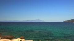 Mount Athos seen from Sithonia. Chalcidice, Greece Stock Footage