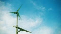 Wind turbine with solar panel in slow-motion. Stock Footage