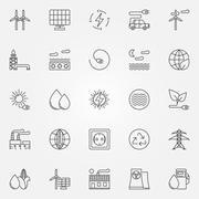 Alternative energy icons Stock Illustration
