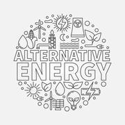 Alternative energy round vector illustration - stock illustration