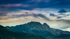 Sunrise in Zakopane view of Mount Giewont, Poland Stock Footage