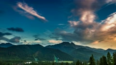 Dusk over the Tatra Mountains in summer, Poland Stock Footage
