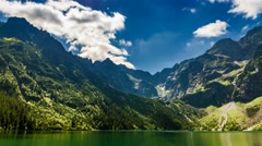 Lake in the Tatra Mountains at dawn, Poland Stock Footage