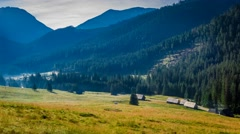 Sunrise in the valley Chocholowska, Tatra Mountains, Poland Stock Footage