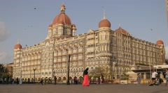 Taj Mahal Palace hotel and tourists,Mumbai,India Stock Footage