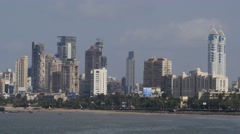 Skyline along Back Bay,Mumbai,India Stock Footage