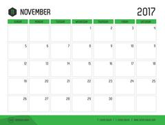 Vector of Calendar 2017 new year, November with green bar color and clean mod Stock Illustration
