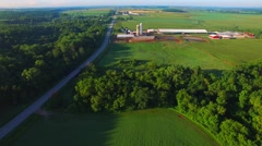 Rural agricultural landscape with beautiful fields and farms Stock Footage
