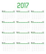 Vector of Calendar 2017 new year ,12 month calendar set with green bar color  - stock illustration