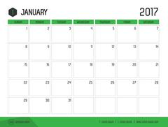 Vector of Calendar 2017 new year, January with green bar color and clean mode Stock Illustration