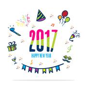 2017 happy new year colorful color with doodle party icon on white background Piirros