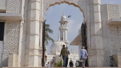 Entrance to Haji Ali Dargah mosque,Mumbai,India Stock Footage