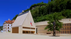 Parliament  in Vaduz, Principality of Liechtenstein, Europe Stock Footage