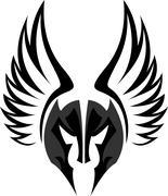 Stock logo mask spartan helmet with wing Stock Illustration