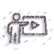 TV HD cinema people 3D rendering - stock illustration