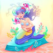 Young mermaid with a couple of fish around her Stock Illustration
