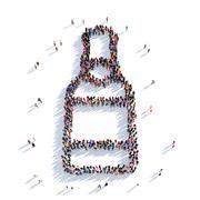 Bottle of beer people 3D rendering Piirros