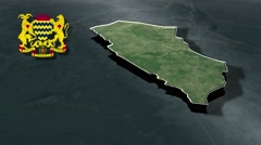 Mayo-Kebbi Ouest with Coat Of Arms Animation Map Stock Footage