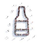 Bottle of beer people 3D rendering Stock Illustration
