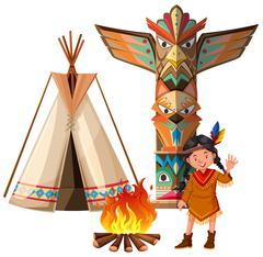 Indian girl and tepee by the campfire Stock Illustration